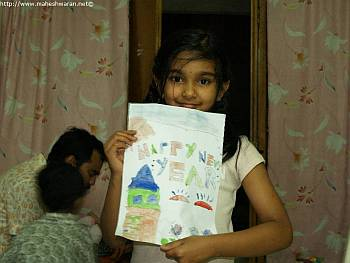 Samyuktha with her painting